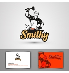 blacksmith logo forge or forging icon vector image