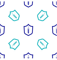 Blue medieval shield with sword icon isolated vector