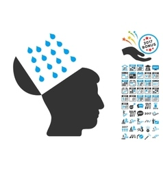 Brain Shower Icon With 2017 Year Bonus Pictograms vector