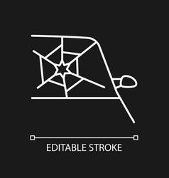 Broken car glass white linear icon for dark theme vector