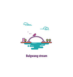 Bulgwang stream in south korea with line art desig vector
