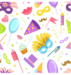 carnival seamless pattern with celebration party vector image