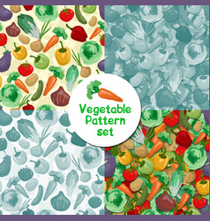cartoon hand drawn vegetables seamless pattern vector image