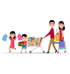 cartoon happy family shopping supermarket vector image vector image