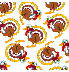 cartoon of the bird turkey decorative pattern vector image