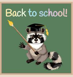 cartoon raccoon back to school vector image