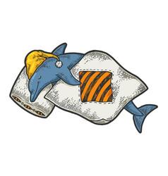 cartoon sleeping dolphin sketch engraving vector image
