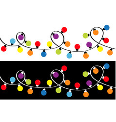 Christmas lights set holiday festive round xmas vector