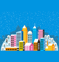 christmas town winter vector image