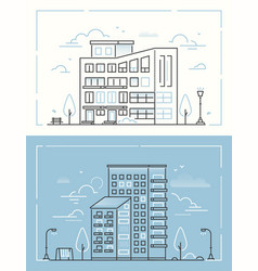 city buildings - set thin line design style vector image