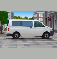 City street with minibus vector