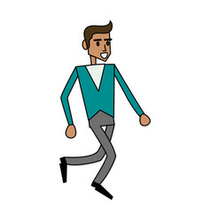 color image cartoon full body side view man vector image