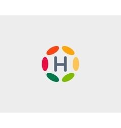 Color letter H logo icon design Hub frame vector