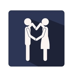 color silhouette frame with couple and arms in vector image