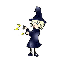 comic cartoon witch casting spell vector image