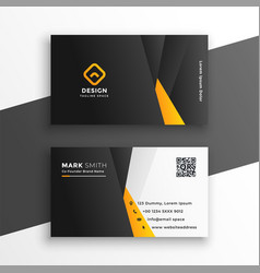 company business card in yellow geometric style vector image