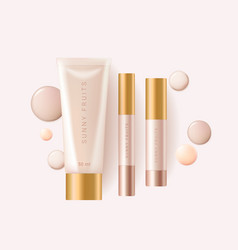 Concealer foundation cosmetic ads template vector