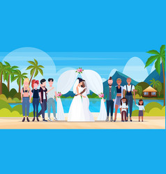 Couple newly weds lesbians in white dress standing vector