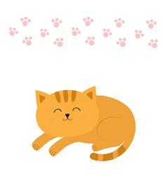 Cute lying sleeping orange cat with moustache vector