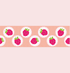 Cute raspberries polka dot vector