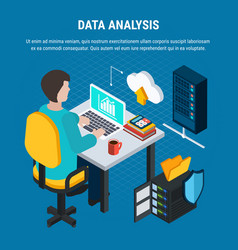 data analysis isometric background vector image