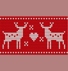 deer and heart red embroidery for christmas vector image