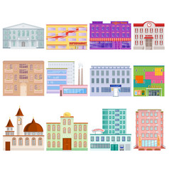 Different city public buildings houses facade flat vector