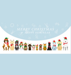 dogs wearing christmas costume background vector image