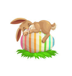 Easter bunny sleeping on egg vector