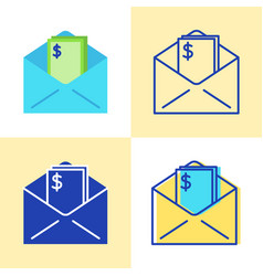 Envelope with money icon set in flat and line vector
