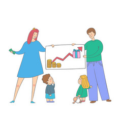 Family with kids saves money parents teaching vector