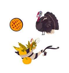 Farm hen turkey pumpkin pie and cornucopia vector
