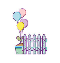 fence potted plant and balloons decoration vector image