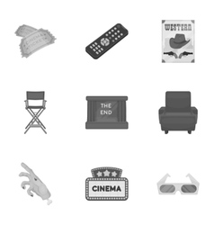 Films and cinema set icons in monochrome style vector