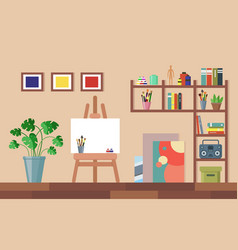 Flat art studio interior vector