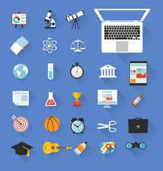 flat design education objects icon set vector image