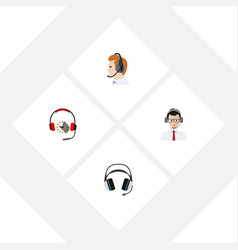 Flat icon hotline set of help headphone vector