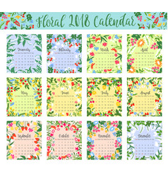 Floral calendar with wild flower and berry frame vector