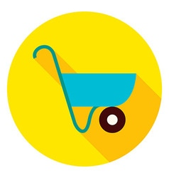 Garden Wheelbarrow Circle Icon vector image