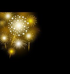 Gold firework design on black background vector