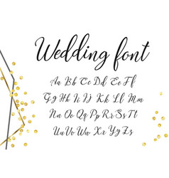 gold wedding font vector image