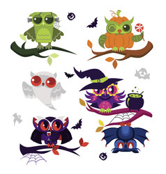 Halloween owls flat set vector