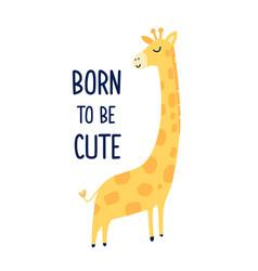 hand drawing cute giraffe vector image