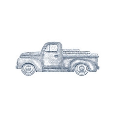 Hand drawn engraved retro vintage pickup truck vector