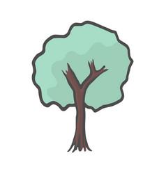hand drawn tree icon color doodle vector image
