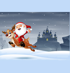 Happy santa claus riding a reindeer jumping on the vector