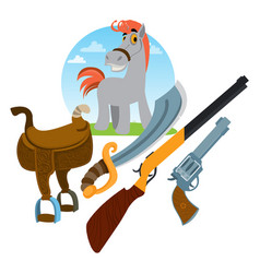 horse weapons and saddle wild west vector image