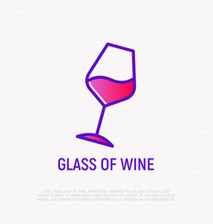 inclined glass of wine thin line icon vector image