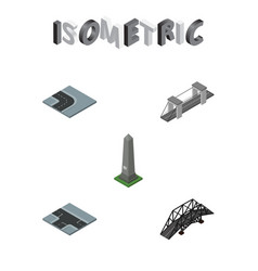Isometric architecture set of crossroad highway vector
