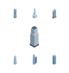 Isometric construction set of skyscraper exterior vector